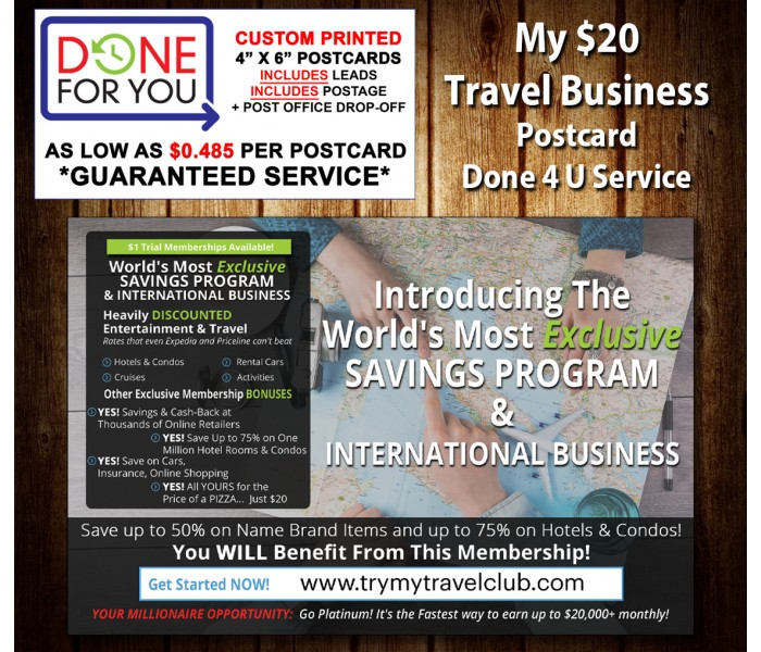 My $20 Travel Business Done 4 U Direct Mail Service
